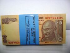 RARE REPLACEMENT/STAR BUNDLE 100 Notes India Rs 10 GANDHI Sign Raghunath Rajan