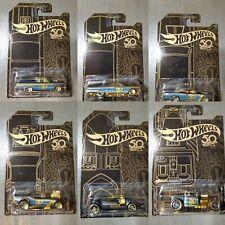 Hot Wheels 50 Anniversary Black & Gold Card Set of 6 Brand New