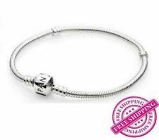 Pandora New 925 Sterling Silver Unisex Vintage Charm Snake Chain Logo Bracelet