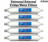 Universal External Fridge Water Filters 5 pack Screwfit fits Samsung LG Bosch