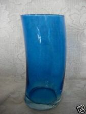 Beautiful & Unusual Turquoise Blue Blown Glass Vase