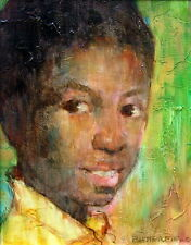CORTLAND BUTTERFIELD 1904-1977 NEW HOPE PAFA PORTRAIT BLACK BOY OIL ANIMATED