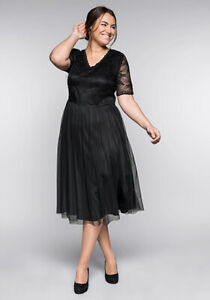 Sheego Abendkleid Damen Cocktailkleid Schwarz Kleid Gr. 44-58 UVP 99€ 54154347