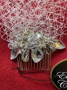 White Wedding Veil With Rhinestone Comb Bridal Bird Cage - Elegance By Carbonnea