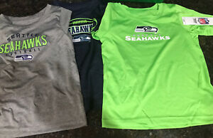 Seattle Seahawks NFL Team Apparel NWT 3 T-Shirts ~ Blue, Green Gray ~ 2T, 3T, 4T