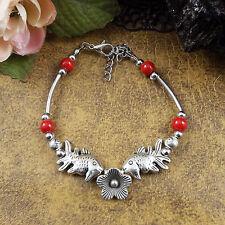 DIY red  New Tibet silver multicolor jade turquoise bead bracelet S175B