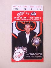 2001 DETROIT RED WINGS TICKET STUB vs AVS SERGEI FEDOROV W/ HART TROPHY  L@@K!