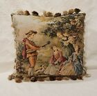 Vintage French Tapestry Pillow Cover Romantic Gold Red Blue, Custom Made
