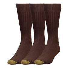 $40 Gold Toe Canterbury Men'S 3-Pair Pack Brown Rib Crew Dress Socks Shoe 6-12