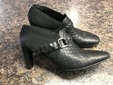 "Women's Sz. 9.5 Narrow 2E Brighton ""Roman"" Black Leather Bootie Heels MINT!"