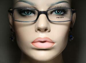 Women's Unworn PRADA VPR 13E Clear Smoky Blue & Silver Glasses Eyeglass Frames