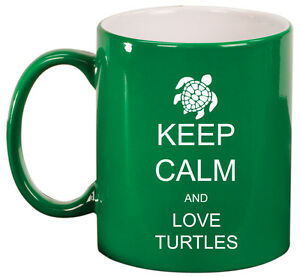 11oz Ceramic Coffee Tea Mug Glass Cup Keep Calm and Love Turtles