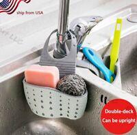 Kitchen Sink Shelving Bag Dish Cloths Rack Suction Sponge Hanging Drain Holder
