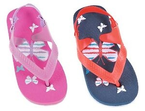 Girls / Kids / Toddlers Butterfly Design Flip Flops with Elasticated Heel Strap