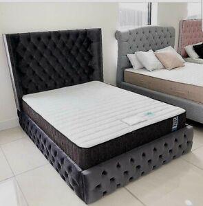PLUSH VELVET FABRIC UPHOLSTERED BED  4FT6 and 5FT