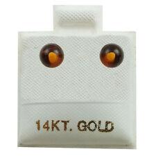 14K Yellow Gold - 4mm Amber Ball Stud Earrings (GE418)
