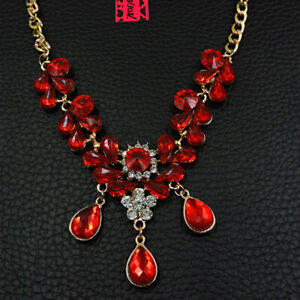 Betsey Johnson Red Crystal Flower Water Drop Pendant Choker Chain Necklace