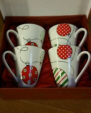 Palms Casino Set of 4 Christmas Ornament Design Coffee Mugs Holiday Cups