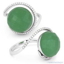 14k White Gold Right-Hand Cocktail Ring 8.45 ct Green Aventurine & Diamond Pave