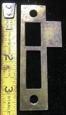 "(1) One Vtg 3-1/2"" BRASS PLATED Mortise Lock Jamb Strike Plate Keep Keeper Part"