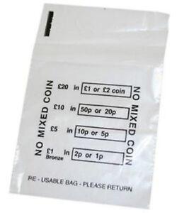 100 Plastic Money Bags - No Mixed Coins Change Cash Retail Bag