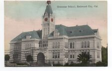1909 postcard showing the Grammar School at Redwood City San Mateo CO CA