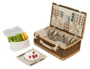 W and S Wickers and Straw Picnic Basket Hamper - 4 Person