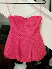 TIGERLILY Pretty Bright Pink Strapless Busiter Top With Black Spots Size 6.