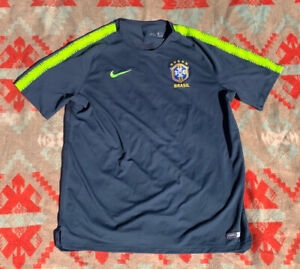 2018 Nike Team Brazil National Team Soccer Jersey Navy Volt Sz XXL