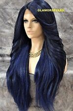 Human Hair Blend Hand Tied Monofilament Lace Front Full Wig Long Black Blue