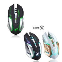 Wireless Optical Gaming Computer Mouse Silent Click Usb Rechargeable Led Backlit