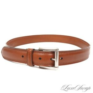 LNWOT Coach Hand Crafted 3888 British Tan Topstitched Silver Buckle Belt 40 NR
