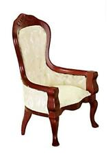 Dolls House Victorian White & Walnut Gents Chair Miniature Living Room Furniture