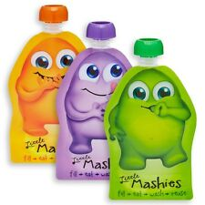 NEW Little Mashies Reusable Food Pouches 10 Pack 130ml Feeding Kids Childrens