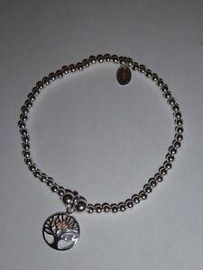 "handarbeit sterlingsilber kugel stretch armband - ""lebensbaum"" charm-neu"