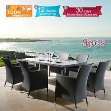 Wicker Rattan Indoor Outdoor Table & Chairs Sofa Lounge Suite Set 9 Pieces New