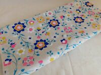 Vintage Wamsutta Mills Linen Decor Fabric Bright Wildflowers 2 yds 44W