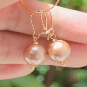 Natural Pearl gold Earrings eardrop 18K Chain girl Gift Hook Diy Easter
