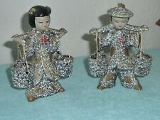 Pair of vintage Asian Girl & Boy Carrying Water Buckets TILSO Japan