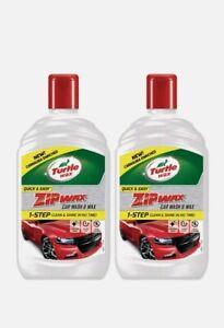 2 x Turtle Wax 500ml Zip Wax Car Wash & Wax Shampoo Cleaner Carnauba Shine - 1L