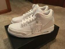 Mens Size 10 Air Jordan 3 Retro Pure White DS Triple White Cement 136064-111