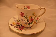 Bell China Old Country Spray Vintage Demitasse Cup and Saucer White Pink Yellow