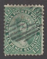 "Canada Scott #18  12 1/2 cent Queen Victoria yellow green ""First Cents"""