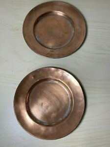 Pair Signed ANTIQUE MIDDLE  EAST PERSIAN ISLAMIC COPPER PLATES