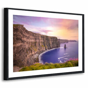 Black Framed Scenic Picture Wall Art Prints Colourful Sea Cliff Ireland