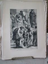 Vintage Print,SCHOOL ATHENS,Rome,Francis Wey,1872