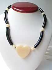 Avon Modern Heart Choker Black Necklace FREE SHIP box adjustable 16-18 inches