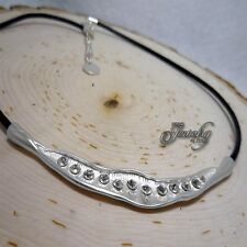 Leather Matte Silver Crystal Collar Stainless Steel Necklace