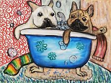 4x6 FRENCH BULLDOG in a Clawfoot Tub Dog Art PRINT of Painting Artwork by KSams