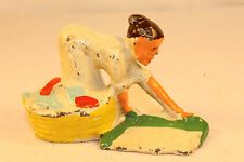 BARCLAY MANOIL HAPPY FARM SERIES M162 #41/34 WOMAN LAYING OUT WASH ON GRASS LOTB